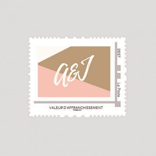 timbre assorti faire-part mariage Nude, avec initiales des mariés.