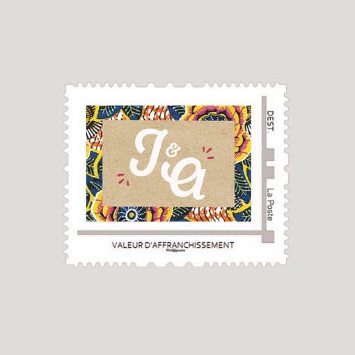 timbre personnalisé mariage afrique ethnique chic, tissu wax