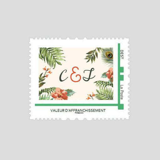 Timbre personnalisé jungle tropicale, mariage exotique chic avec les initiales des mariés