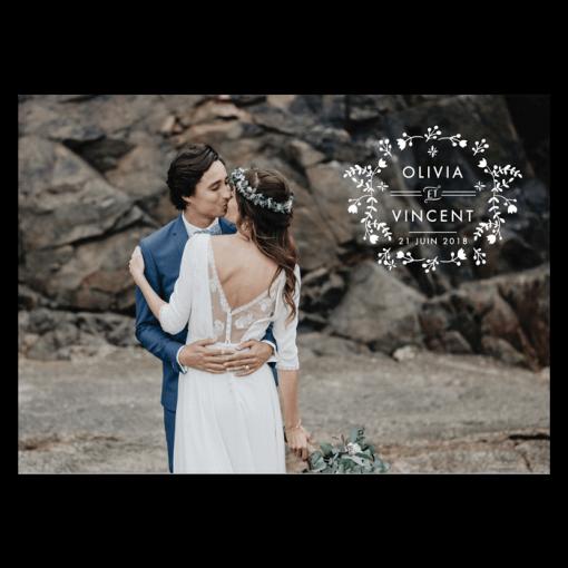 Carte remerciements mariage avec photo et logo des mariés