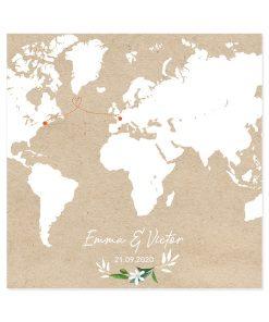 faire-part mariage bilingue avec carte du monde illustrée. Mapmonde sur fond kraft.