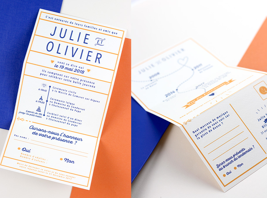 faire-part mariage moderne orange et bleu avec déroulé du mariage sous forme de schéma avec pictogrammes
