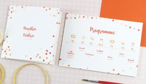 Programme invitation de mariage confettis orange et rouge