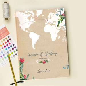 Livre d'or mariage voyage personnalisé. mariage evasion