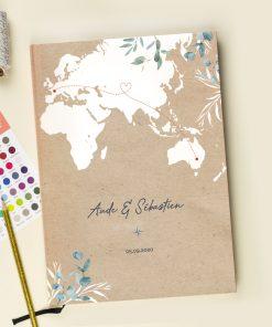 Livre d'or mariage voyage évasion. Livre 'or imprimé personnalisé. carte du monde et eucalyptus
