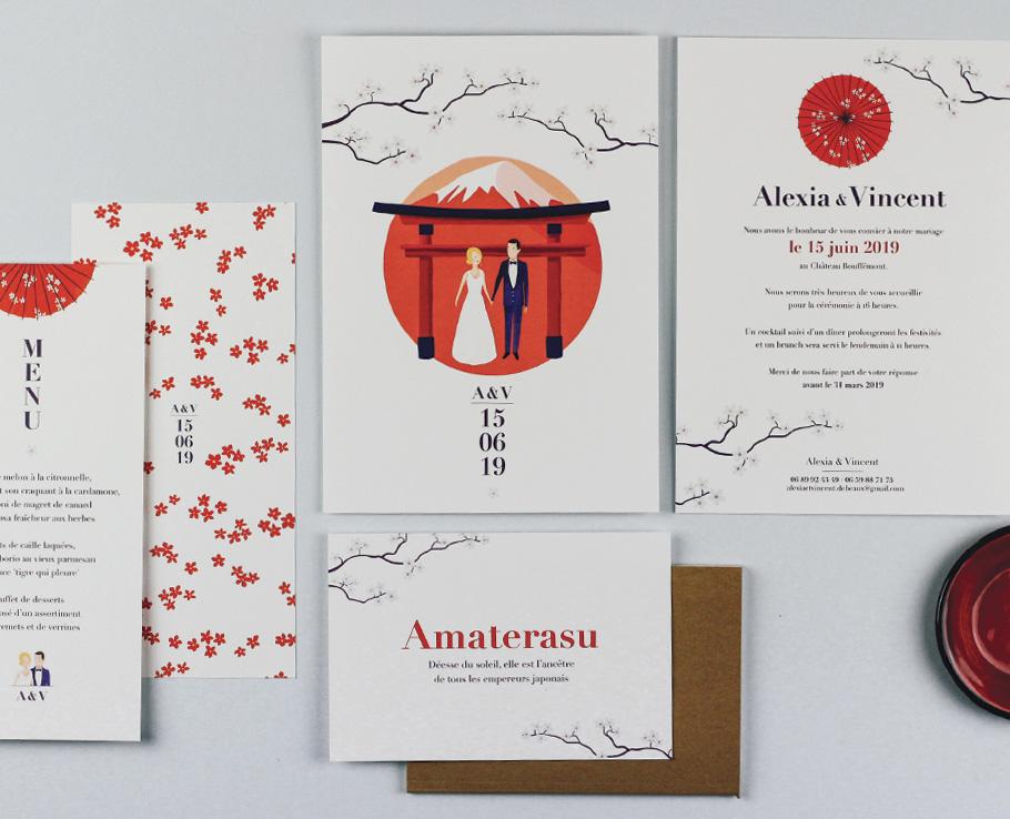 faire-part mariage sur mesure thème Japonais, couleurs rouge et blanc, portrait des mariés.
