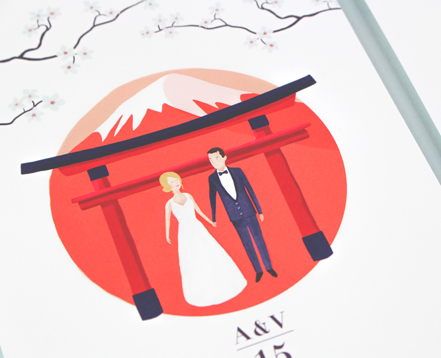 illustration mariés sur invitation mariage Japon.