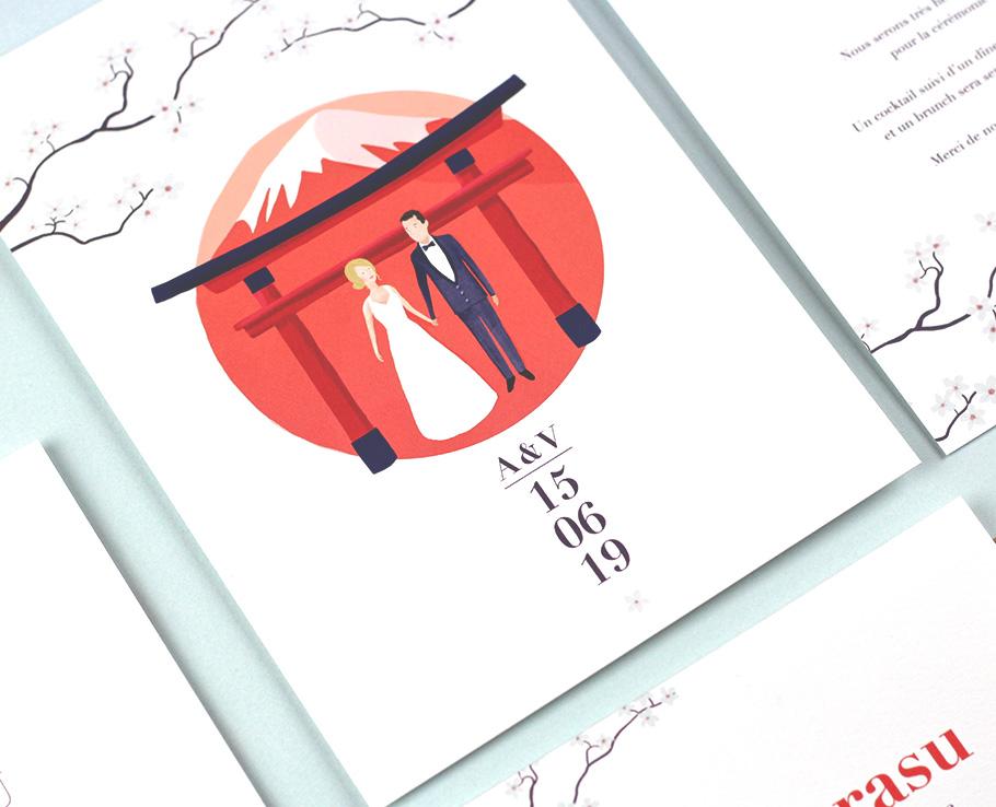 faire-part mariage Japon, sur mesure. Fleurs cerisier, rond rouge sur fond blanc