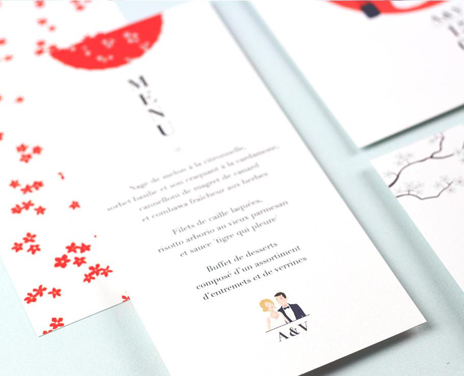 Faire Part Mariage Thème Japon Création Sur Mesure