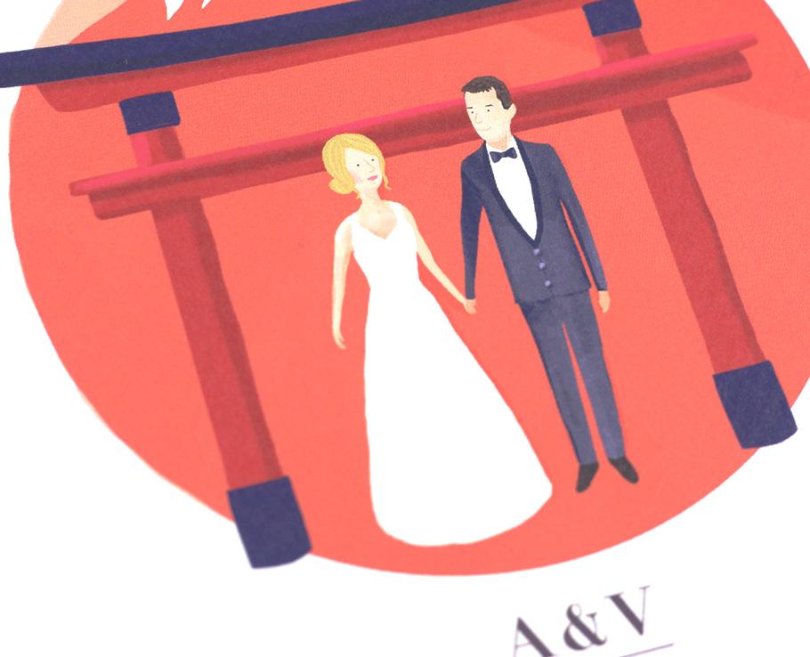 Portrait mariage, illustration des mariés sur thème japonais. fond rouge mont Fuji