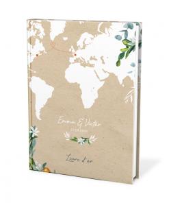 Livre d'or mariage thème voyage avec carte du monde sur fond kraft.