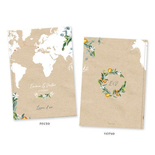 Livre d'or mariage voyage, find kraft et carte du monde illustrée. Branches d'olivier et d'oranger.