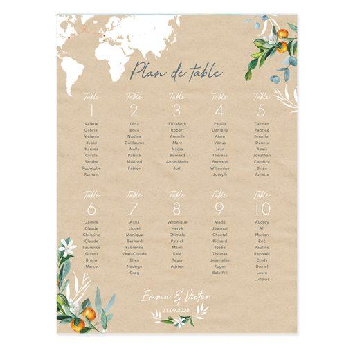Plan de table mariage poster imprimé sur fond kraft. Carte du monde et branches d'olivier et oranger à l'aquarelle.