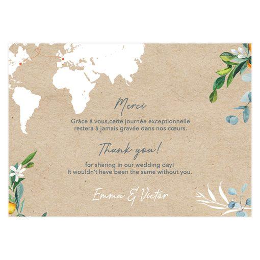 Remerciements mariage bilingue, carte avec carte du monde sur fond kraft