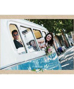 Carte remerciements mariage bilingue avec thème Voyage