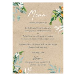 Bilingual wedding menu with map.