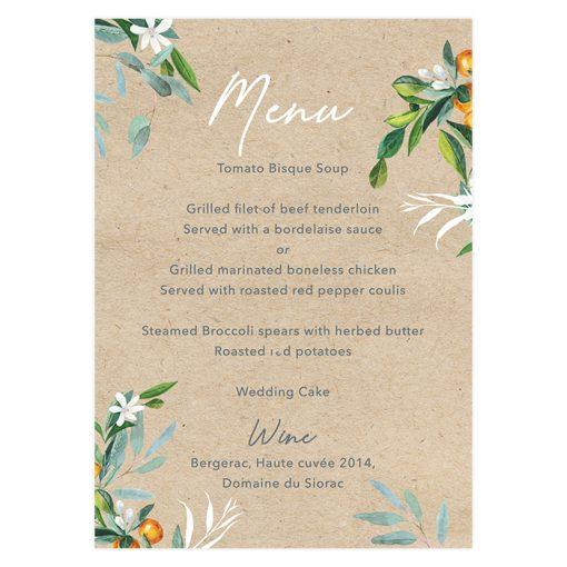 Bilingual wedding menu with map.