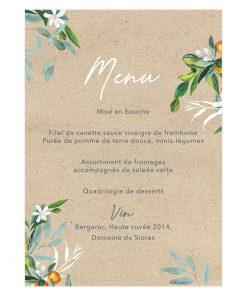 Menu mariage bilingue sur fond kraft, carte du monde et branches d'olivier