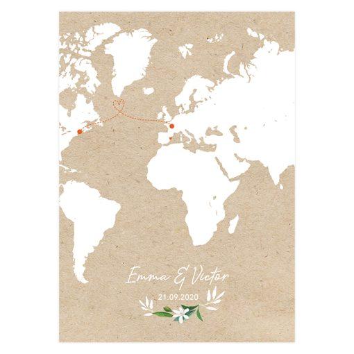 Manu mariage personnalisé, avec carte du monde imprimée sur fond kraft.
