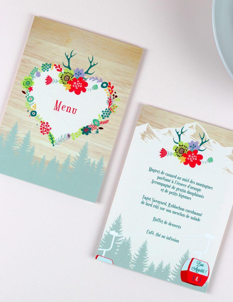 menu mariage montagne, fleurs fond bois