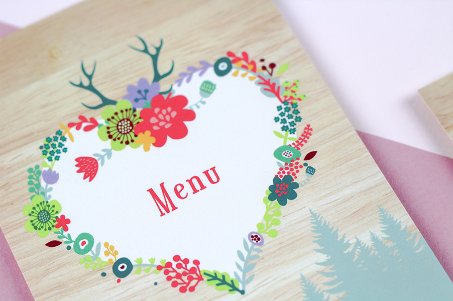 Impression Menu mariage, assorti au faire-part