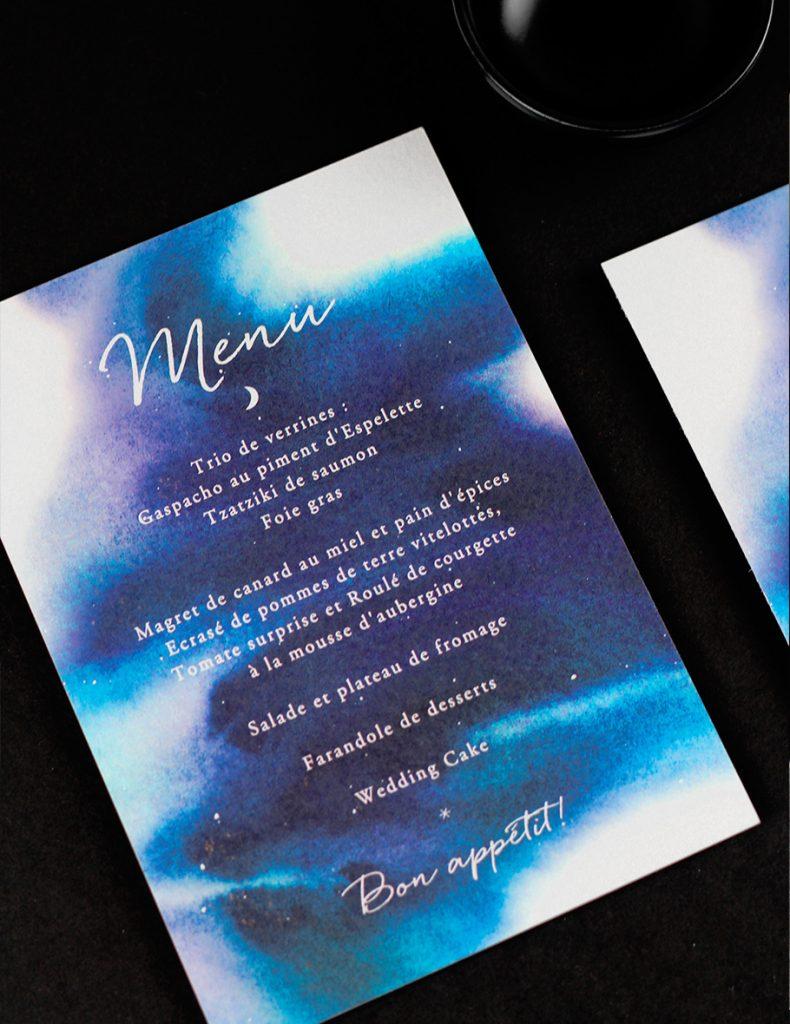 manu mariage nuit étoilée, constellations, bleu aquarelle