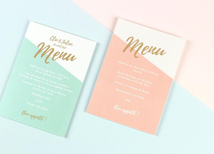 menu mariage nude, moderne et minimaliste