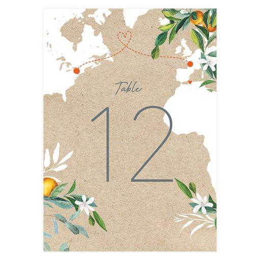 numéro table mariage voyage, bohème et chic