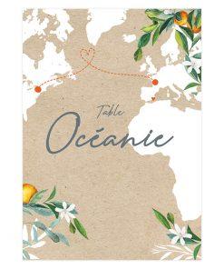 Nom de table bohème avec carte du monde, thème voyage