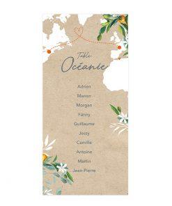 Plan de table sur fond kraft et carte du monde. Noms des invités imprimés avec carte du monde et branchages.