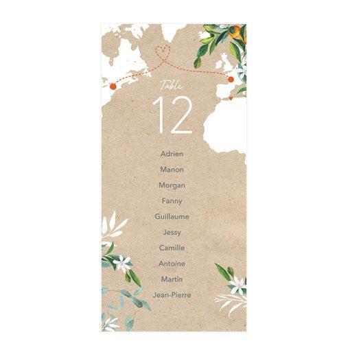 plan de table cartes, thème voyage international, avec carte du monde.