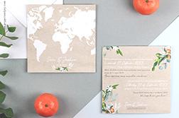 faire part mariage bilingue thème voyage avec mapmonde sur fond kraft