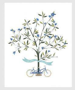 arbre généalogique avec vélo tandem. Illustration sur mesure.