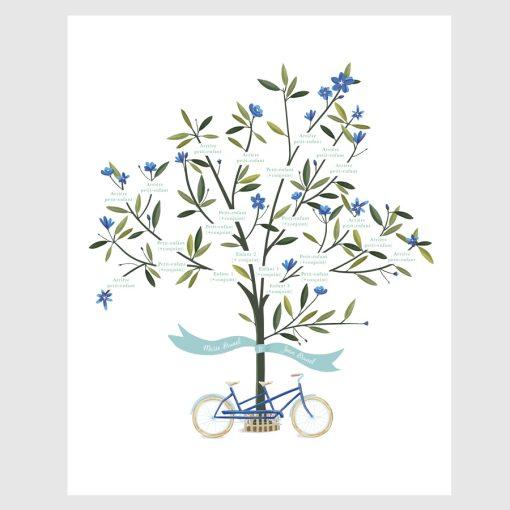 arbre généalogique illustré avec vélo tandem posé contre le tronc. Version fleurs bleues.