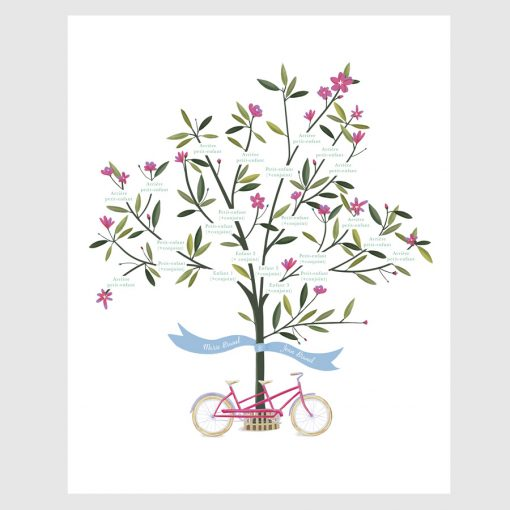 Arbre généalogique illustré sur mesure. Fleurs violettes et vélo tandem fuschia violet.