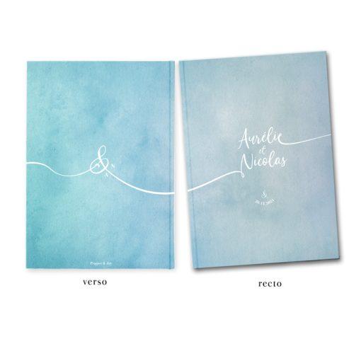 Livre d'or mariage A4, couverture rigide personnalisée avec vos couleurs. Fond aquarelle.