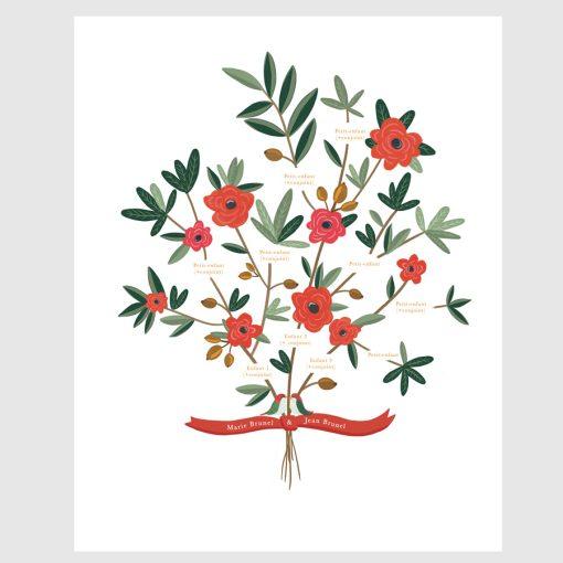 Arbre généalogique illustré sur mesure. Bouquet de fleurs et couple d'oiseaux. Arbre de famille imprimé.