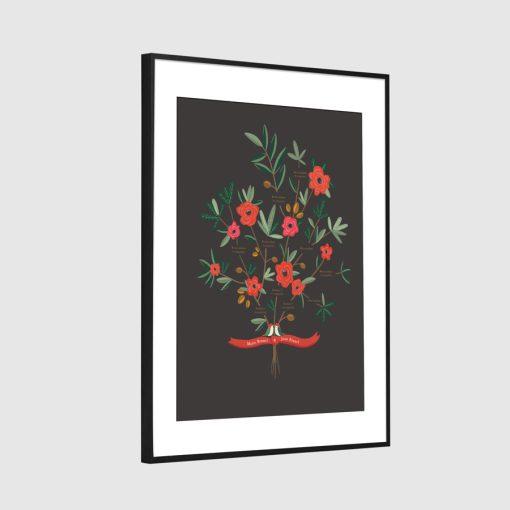 arbre généalogique avec dessin sur mesure. Sous forme de bouquet de fleurs avec un couple d'oiseaux et des rubans.
