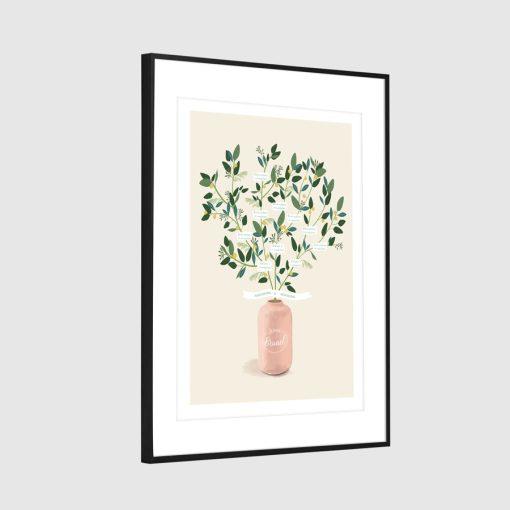 Arbre de famille, arbre généalogique personnalisé sur mesure. Bouquet de fleurs de mimosa, vase rose pâle.