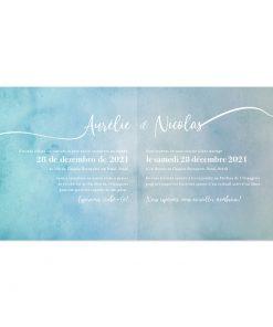 Invitation mariage carrée, pages intérieures aquarelle avec texte bilingue ou trilingue.