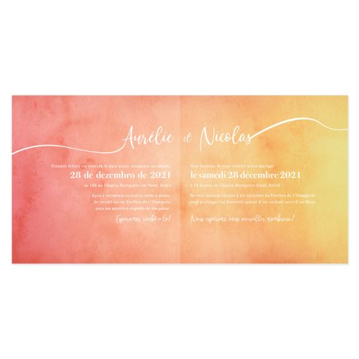faire-part mariage livret carré. Fond aquarelle avec texte bilingue ou trilingue en blanc. Mariage voyage, destination.