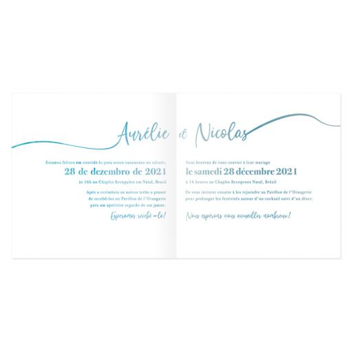 invitation mariage, livret avec texte bilingue trilingue.