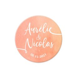 Save the date voyage mariage bilingue, magnet aquarelle orange