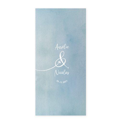 Menu mariage personnalisé et imprimé. Carton recto verso. Aquarelle bleu. menu mariage bilingue trilingue