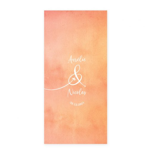 Menu mariage bilingue fond aquarelle orange