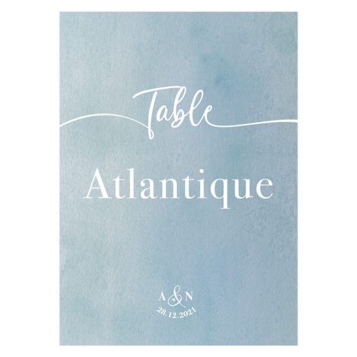 Nom de table carte imprimé pour décoration table mariage
