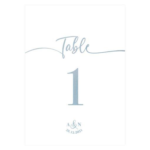 Carte numéro table mariage. Plan table mariage. Bleu aquarelle