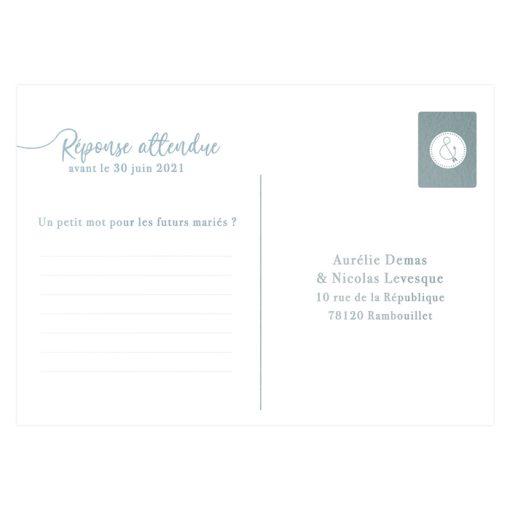 Carton réponse bleu gris pour faire-part mariage bilingue ou trilingue
