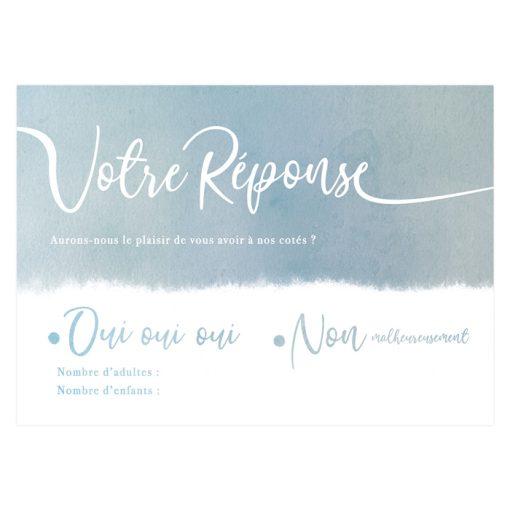 carton réponse invitation mariage bilingue bleu gris aquarelle