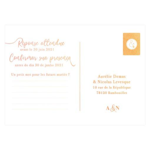 Carton réponse mariage aquarelle bilingue. Teintes orangées.
